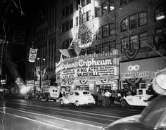 The Orpheum on lower Broadway in downtown Los Angeles, during it's life as a vaudeville theater, 1949.