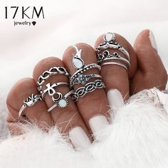 Silver Boho Punk Vintage Turkish Rings 10pcs/set //Price: $2.99 & FREE Shipping //     #jewellery