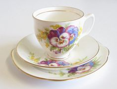Vintage Diamond China Tea Trio Pansies and by TheWhistlingMan, £14.00