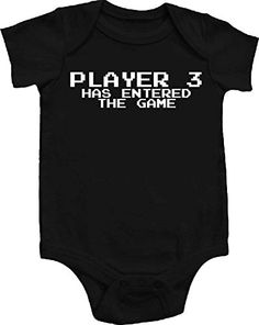 2f590ceef Amazon.com  Player 3 Has Entered The Game Awesome Funny Baby Bodysuit One  Piece Creeper Black w  White (3-6 months)  Baby