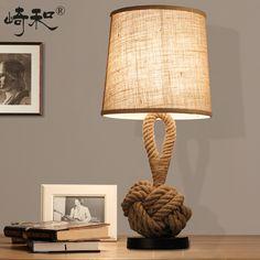 Rope Table Lamps LED Bedroom Lamps Bedside Vintage Industrial Table Lamp Lamparas de mesa Lamparas Vintage mesa home office décor