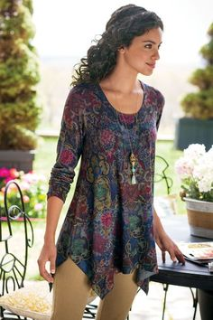 Pretty Paisley Top  Classical motifs are colorfully fresh in this soft, fine-gauge jersey knit top that flows over curves to a chic high-low hem. Perfection with jeans or deni