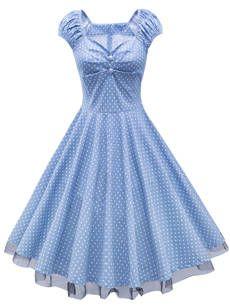 Exquisite Polka Dot Sweet Heart Patchwork Skater Dress