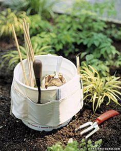 "Love this idea! Carpenter's nail belt tied around a bucket! Great gift for the ""gardening Mom""."