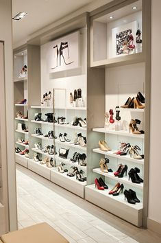Single Wall Shoe Display Gondola Shelving Fittings For Shops - Boutique Store Fixtures Manufacuring, Retail Shop Fitting Display Furniture Supply Clothing Store Interior, Clothing Store Displays, Clothing Store Design, Clothing Racks, Shoe Store Design, Retail Store Design, Retail Shop, Shoe Shop, Showroom Interior Design