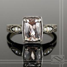 Custom Made Art Deco Morganite And Pearl In 14k