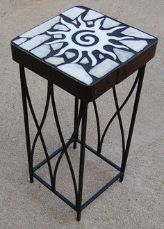 Marble Starburst 164: A natural stone topped accent table | Etsy Black Grout, Accent Tables, Recycled Materials, Natural Stones, Folk Art, Stool, Recycling, Marble, Furniture