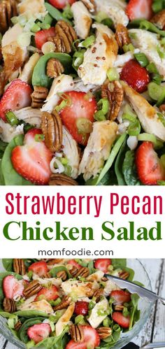 Strawberry Pecan Chicken Salad recipe with Green tea Vinaigrette dressing. #summer #salads #strawberries #pecan #salad #easydinners