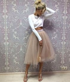 Tulle Prom Dress,Two Pieces Long Sleeve Prom Dress,Custom Made Evening from FancyGown – Moda Nye Outfits, Skirt Outfits, Fashion Outfits, Tule Skirt Outfit, Fashion Skirts, Dress Fashion, Midi Skirt, Party Fashion, Stylish Outfits