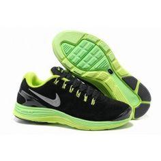 best service 4f486 b77a7 Nyeste Nike LunarGlide+ 4 Leather Sort Grøn Grå Herre Skobutik   Køligt Nike  LunarGlide+ 4 Leather