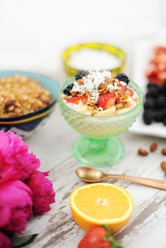 Recipe for a Parfait Bar A mix of yogurts and toppings make a fun recipe for success when it comes to entertaining.  This is also a great prepare ahead breakfast idea for busy mornings!