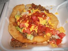 Indian Taco - the best fair food, ever! (Indian fry bread, beef, beans, lettuce, tomato, onion, cheese, chunky hot sauce)