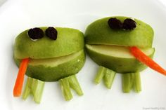 Cute frog snack idea assembled with Laughing Cow cheese...For more ideas for school lunches visit https://www.facebook.com/SchoolLunchIdeas