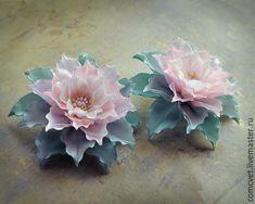 """Купить Заколка для волос и брошь """"Полутона"""" - мятный, нежность, нежное украшение, цветы"""