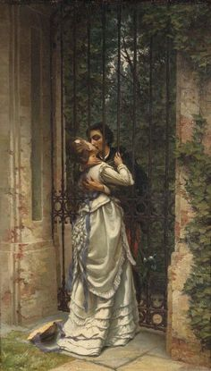 The Kiss by Silvio Allason (1845 - 1912) was an Italian painter, mainly of land, sea, and moonscapes. He was a resident in Turin. Painting, Art, Kunst, Gcse Art, Sanat