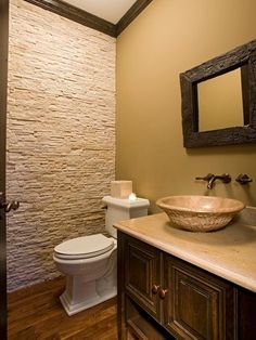 powder bath stacked stone wall with wall mounted faucet.sink and faucet on stone wall. I love stacked stone on interior walls! Stacked Stone Walls, Stone Wall Design, Stone Accent Walls, Accent Wall Designs, Powder Room Design, Small Room Design, Bathroom Collections, Bathroom Interior, Bathroom Ideas