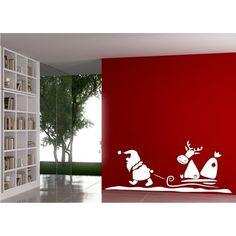 Wandtattoo Weihnachten Santa Claus mit Rentier