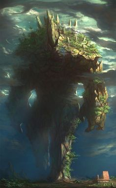 Some animated land, or a spirit guardian of nature. or a huge lizard who stayed still for too long and grass grew over him Who can say? RPG monster inspiration for DnD / Pathfinder Dark Fantasy Art, Fantasy Artwork, Fantasy Concept Art, Fantasy Kunst, Fantasy World, Fantasy Beasts, Epic Art, Creature Concept, Monster Art