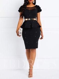 8fc5976e48cb4 Round Neck Bead Short Sleeve Falbala Women's Day Dress. Ladies Day DressesSexy  ...