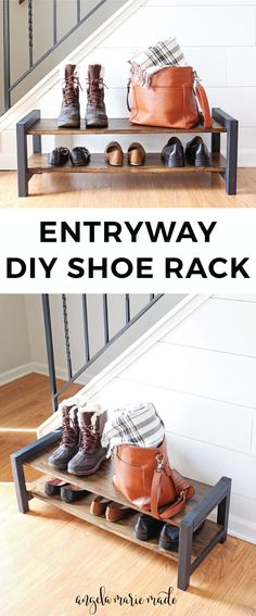 How to build an entryway DIY shoe rack for less than $15! This DIY wood shoe rack looks nice by the front door, is easy to build, and is easy to use and throw shoes on top of daily. This DIY shoe rack can also fit well inside of a closet too!