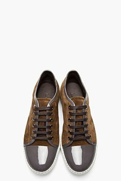 Lanvin Olive Green Patent And Suede Tennis Shoes for men | SSENSE  Want . .