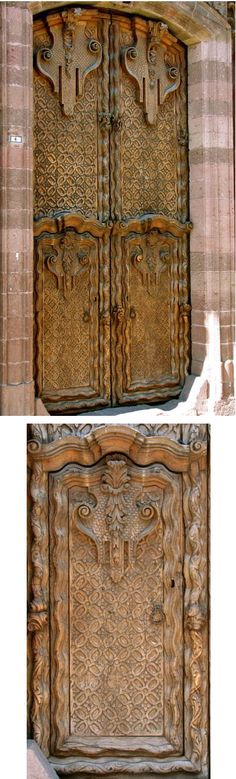 This huge and fantastically ornate carved wooden door is located on a side street just off the Jardin. To appreciate the size, it is helpful to know that the two small doors at the bottom are each over seven feet tall (see the bottom picture). These portals allowed the wealthy owners to bring their carriages directly into the interior courtyards of their mansions.