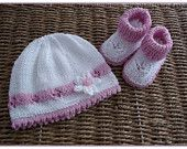 PDF Knitting Pattern for Baby Girls Beanie Hat & Bootee Set in 3 Sizes