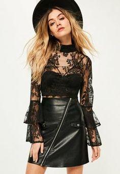 662876596b6a1 Black Lace Frill Sleeve Crop Top Bohemian Chic Fashion
