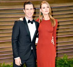 Adam Levine Wears Tux, Slick Hair With Behati Prinsloo at Oscars Party - Us Weekly (I love her hair color!)