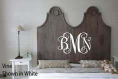 The Torch Garland Classif Motif is part of our perfectly sized Royal Design Studio Furniture Stencils Collection. Beautiful on this headboard! Decor, Bedroom Headboard, Painted Furniture, Headboard Designs, Furniture, Painted Wood Headboard, Monogram Wall Decals, Classic Furniture, Stencil Furniture