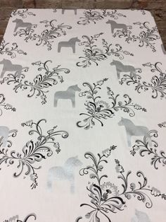 Tablecloth white with silver Swedish Dala Horses, Scandinavian design, gift by SiKriDream on Etsy