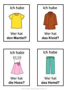 German version of the I have ... Who has ...? game. This German game can be played to practice clothes vocabulary. The game has 39 cards with a colorful frame and 39 cards with a simple black frame to save you ink. There are 4 cards per page.