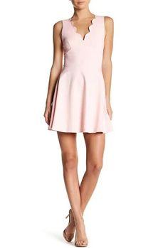 Scalloped V-Neck Mini Fit & Flare Dress