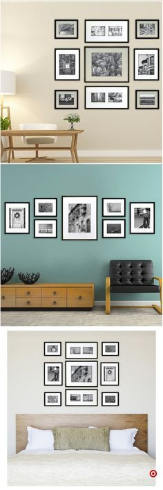 Wall decoration for living room pictures frame layout Ideas Wall Collage, Frames On Wall, Collage Ideas, Wall Art, Picture Frame Layout, Picture Walls, Photo Walls, Galley Wall, Interior Decorating