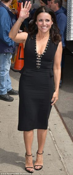 Actress Julia Louis-Dreyfus wore a black corset-styled dress to the final taping of David Letterman's Late Show