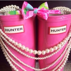 preppy: lily bow, pink hunter's and pearls