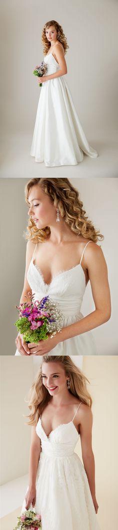 lace spaghetti straps long a-line/princess satin wedding dress