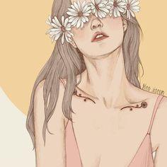 Warm colors girl drawing illustration by Heo Jiseon # Art And Illustration, Illustrations And Posters, Pretty Art, Cute Art, Blind Girl, Drawn Art, Drawing Hair, Lady Drawing, Korean Art
