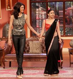Sushmita Sen with Sumona Chakravarti on 'Comedy Nights With Kapil'. #Style #Bollywood #Fashion #Beauty