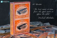 "Fall 2014 Release Kick-Off! Ships in 1-2 weeks.  Houston's new tiles are a tribute to American Industry! ""Aviator"", tile #158 features a collectible stamp design, with the quote ""The bad news is time flies, the good news is you're the pilot."" - Michael Altshuler. #art #houstonllew #spiritile #quirksofart #stamp #collectible"