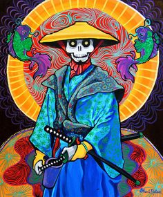 Samurai Art Print Warrior Skeleton Painting Japan Day of the Dead folk painting