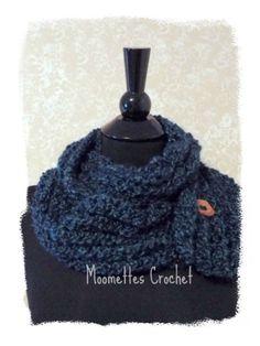 NEW Bulky Cowl Infinity Scarf  Long Chunky Wood Button Blue Handmade Crochet #Handmade #CowlInfinity