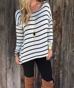Slouchy Stirpe Top 3 Day sale $16.99