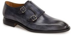 $595, Navy Leather Double Monks: Oliver Sweeney Ghirri Double Monk Strap Shoe. Sold by Nordstrom. Click for more info: https://lookastic.com/men/shop_items/330575/redirect