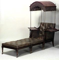 English Regency tufted leather library armchair with mahogany desk wings and an arched and fringed mahogany hood. The chair is accompanied by a two-piece attachment that converts the piece into an adjustable chaise or daybed. Fine Furniture, Rustic Furniture, Living Room Furniture, Outdoor Furniture, Modern Furniture, Furniture Decor, Victorian Furniture, Antique Furniture, Campaign Furniture