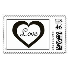 Love white and black heart postage stamp. Wedding postage stamp.  Customize background color. Personalize text #heartwarestore => http://www.zazzle.com/customizable_open_black_heart_love_postage-172141609656564317?CMPN=addthis&lang=en&rf=238590879371532555