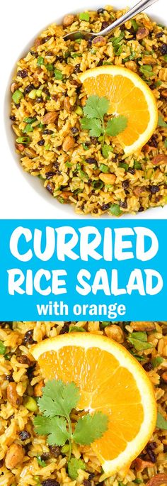 Curried Orange Rice Salad with a flavorful orange-curry dressing and crunchy pistachios. Delicious for picnics, potlucks, and make-ahead meals! Vegan Potluck, Potluck Recipes, Whole Food Recipes, Vegetarian Recipes, Cooking Recipes, Vegan Picnic, Salad Recipes For Parties, Freezer Recipes, Freezer Cooking