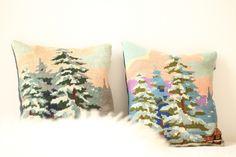 petit coussin tapisserie vintage paysage montagne hiver TRENDY LITTLE 1