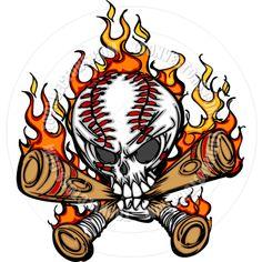 softball cartoon  | Softball Baseball Skull and Bats Flaming Cartoon Image by Chromaco ...