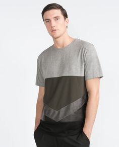 Image 1 of MIXED FABRIC T-SHIRT from Zara